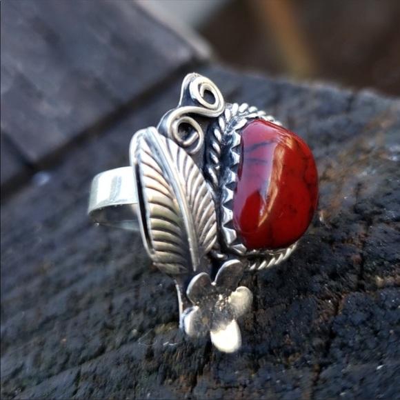 Adjustable red coral Navajo sterling ring